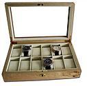Uhrenbox aus Massivholz für 12 Uhren mit Glasdeckel Uhrensammlerbox